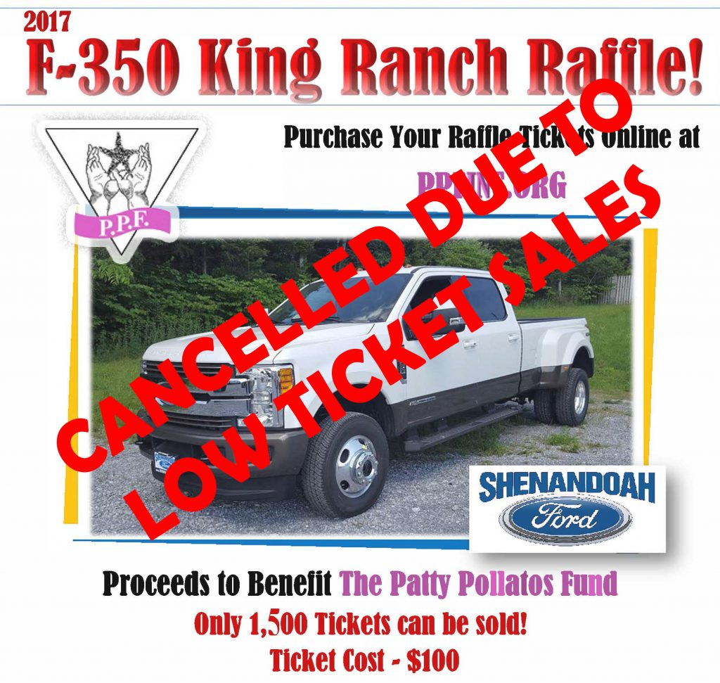cancelled shenandoah ford 2017 f 350 king ranch truck raffle